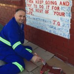 Gerrit du Plessis helped to paint the walls at Missionvale Care Centre  Picture: Gillian McAinsh