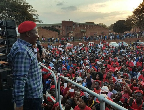 EFF president Julius Malema addressin University of Venda students. Picture via EFF Twitter