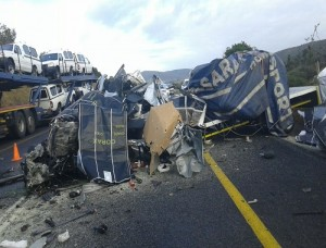 Two people died when a truck and a bakkie collided on the R72 outside Alexandria