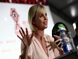 Charlize Theron at the opening press conference of the 21th International AIDS conference in Durban ICC Picture: Thuli Dlamini