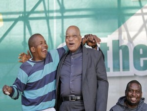 Collen Chauke (left) is President Jacob Zuma's biggest fan, attending as many ANC rallies as he can. He is frequently photographed with the president - from whom he gets a jovial greeting.  Picture: Cornell Tukiri