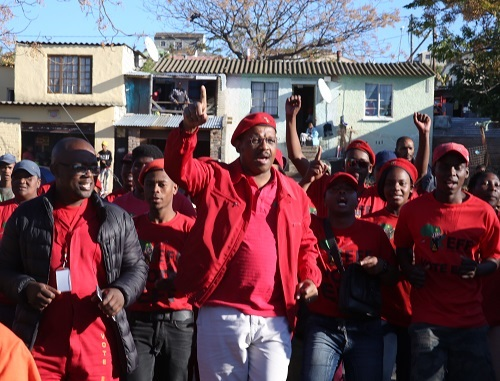 PARTY PROMISES: EFF national chairman Dali Mpofu campaigns in Helenvale yesterday. Picture: EUGENE COETZEE