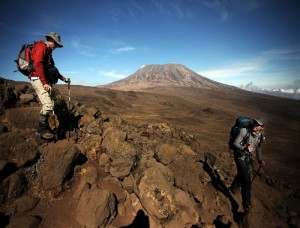 Guy Pitman and Andrew Smith approach the foot of Kilimanjaro File picture: Marianne Schwankhart