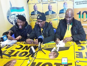 At the ANC press conference are, from left, regional spokesman Gift Ngqondi, national spokesman Zizi Kodwa and regional task team coordinator Bheza Ntshona  Picture: Rochelle de Kock