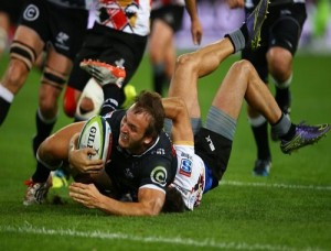 Andre Esterhuizen of the Cell C Sharks going over for a try during the Super Rugby match between Cell C Sharks and Southern Kings at Growthpoint Kings Park in May Picture: Steve Haag/Gallo Images