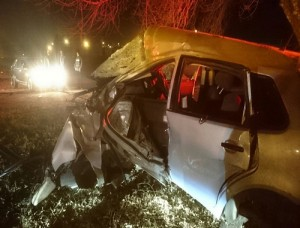 One person died and two others were seriously injured when this car hit a tree