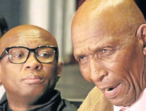 ABUSE CLAIMS: Former farmworker Zibekile James Mxaku, right, with ANC national spokesman Zizi Kodwa at the press conference in Port Elizabeth yesterday. Picture: EUGENE COETZEE