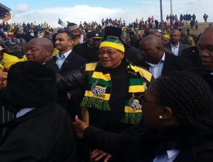 President Jacob Zuma arrives at Dan Qeqe Stadium Picture: Avuyile Mngxitama-Diko