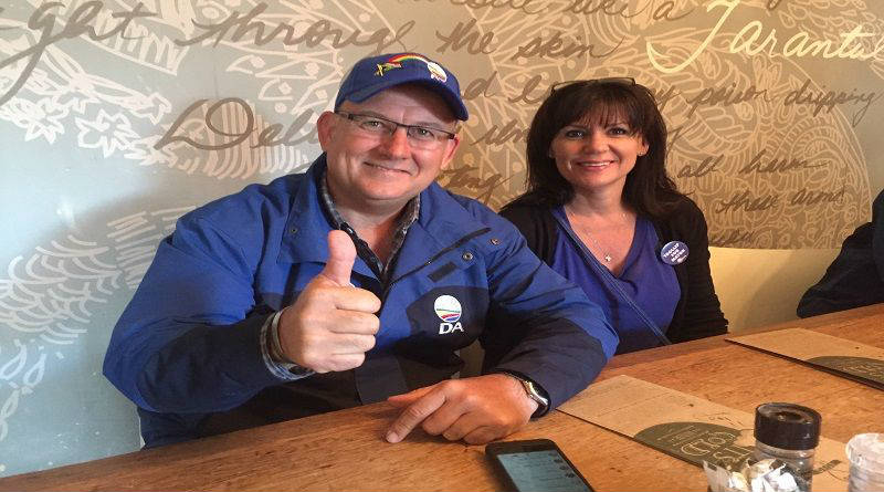 Athol Trollip and his fiancee Janine Handley stopped for a cup of coffee before voting on Wednesday. Picture: Gillian McAinsh