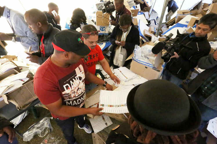 Ballot papers found in a tent near the Electoral Commission results centre in Zwide had been counted, the IEC says Picture: Eugene Coetzee