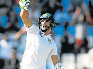YOU BEAUTY: South Africa's Faf du Plessis celebrates his century against New Zealand during day two of the second test match at Centurion Park yesterday  Picture: REUTERS