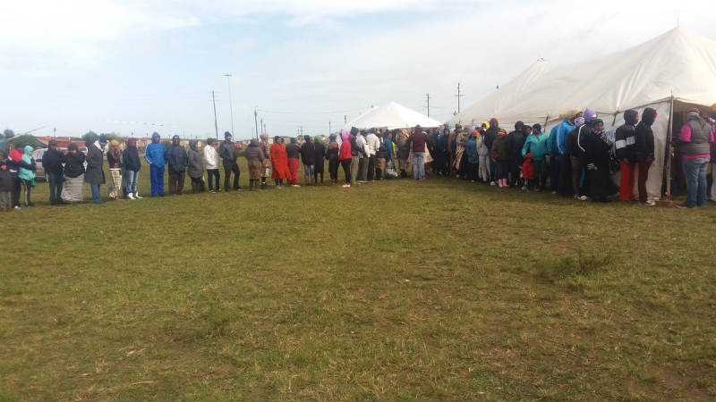 Jeffreys Bay voters, in the Kouga municipality stand in line to cast their vote. Picture: AVUYILE MNGXITAMA- DIKO