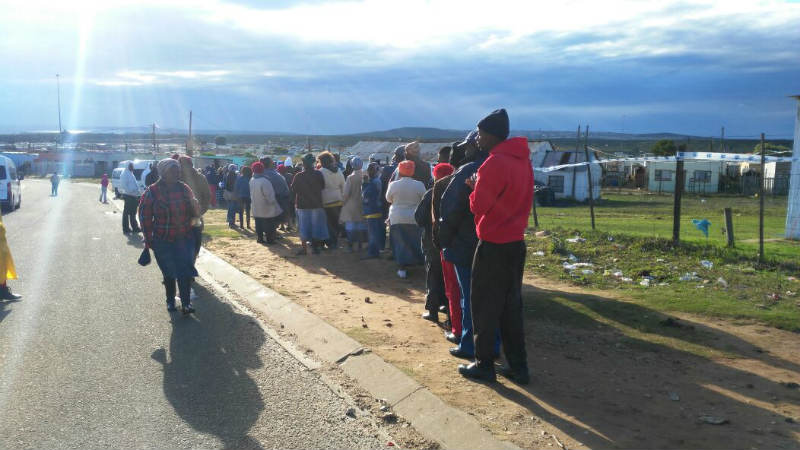 Voters stand in line in KwaNobuhle at Pityana voting station. Picture: NOMAZIMA NKOSI