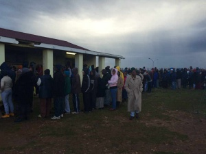 Voters at Joe Slovo Community Centre on Wednesday Picture: Lee-Anne Butler