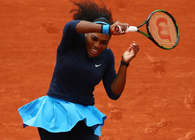 STUNNING START: Serena Williams, of the US, during her French Open first-round match against Slovakia's Magdalena Rybarikova at Roland Garros in Paris yesterday. Picture: EPA