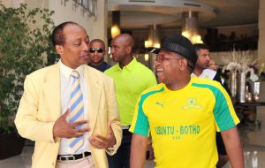 Sundowns President Patrice Motsepe chats to Fikile Mbalula (Minister of Sport and Recreation) at the team hotel ahead of the 2016 CAF Champions League Final between Zamalek and Sundowns at the Radisson Blu Hotel in Alexandria, Egypt on 23 October 2016  Picture: Ryan Wilkisky/BackpagePix